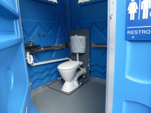 Sydney Bathroom Hire's new sewer connected wheelchair access toilet.